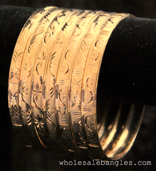 Mexican 7 Pack Semanario Bangle Bracelets 14kt Gold Layered 6mm