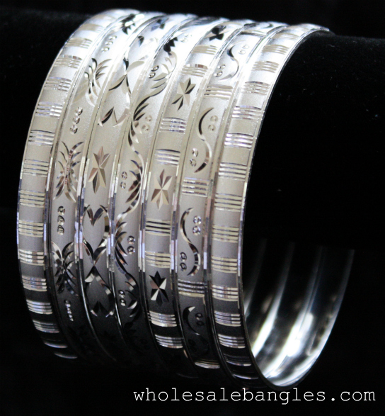Mexican 7 Pack Semanario Bangle Bracelets Silver Layered 6mm