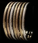 Mexican Shimmer Semanario 7 Piece Bangle Set - Rose/Yellow/White Gold Tone