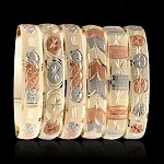 3-Tone Diamond Cut Gold Layered Bangle Bracelets 10MM (6 PIECES)