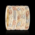 SHIMMER Gold Layered Diamond Cut Bangle Bracelets 10MM (6 PIECES)