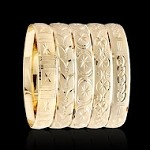Gold Layered Diamond Cut Bangle Bracelets 10MM (6 PIECES)