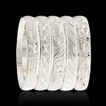 SHIMMER - Silver/White Gold Bangle Bracelets 10MM (6 PIECES)