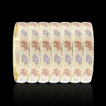 Tri-Color Gold Layered Oro Laminado Elephant Bangle Bracelets 10mm (6 Piece Set)