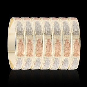 Tri Color Gold Layered Oro Laminado Our Lady of Guadalupe Bangle Bracelets 10mm (6 Piece Set)