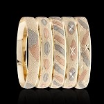 3Tone Laser Cut Gold Layered Bangle Bracelets 10MM (6 PIECES)