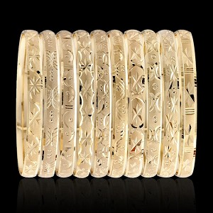 Gold Layered Oro Laminado Bangle Bracelets 6MM (1 Dozen)