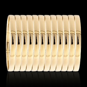 Heavy Gold Layered Oro Laminado PLAIN STYLE Bangle Bracelets 6MM (1 Dozen)
