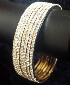 CZ Cubic Zirconium Bangles - 4MM Gold Layered - Semanario 7 Day Set