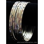 Mexican Semanario 7 Day Tri-Color Gold/Silver Layered Bangles 4MM