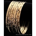 Mexican Semanario 7 Day Oro Laminado Gold Filled Diamond Cut Bangles 4MM