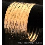 Mexican Semanario 7 Day - Oro Laminado Gold Layered Diamond Cut Bangles 6MM