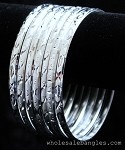 Mexican Semanario 7 Day Silver Layered Diamond Cut Bangles 4MM