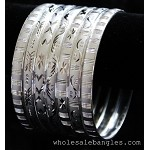 Mexican Semanario 7 Day Silver Layered Diamond Cut Bangles 6MM