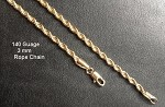 140 Gauge Gold Layered 3mm Rope Chain - 18 Inches