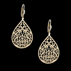 Gold Layered Oro Laminado Filigree Hoop Earrings - Style 2