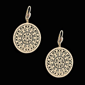 18K Oro Laminado | Gold Layered Filigree Hoop Earrings - Style 4