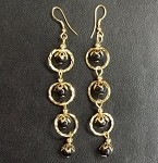 Gold Plated Dangling Earrings with Beads (6 PAIRS)
