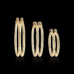 Gold Layered Plain Hoop Earrings (Pair)